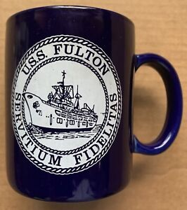 USS FULTON AS-11 U.S. NAVY SUBMARINE TENDER BLUE COFFEE MUG, 12 OUNCES, VINTAGE