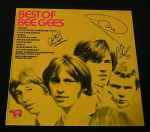 Best Of Bee Gees US LP Cover-NM-Barry Robin Maurice Gibb Autographed!