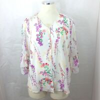 Belle Kim Gravel Women Blouse Sz Large Button Floral Semi Sheer Tiered Sleeve*^