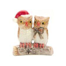 Miniature porcelaine _ Couple de Chouettes bonnet rouge Noël 4cm _ Vitrine