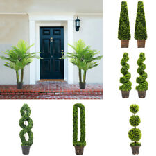 Artificial Topiary Trees Buxus/Bay/Palm Faux Leaf Plant w/ Pot Hallway Decor