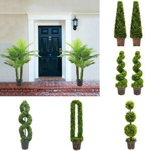 Artificial Topiary Trees Buxus/Bay/Palm Faux Leaf Plant w/ Pot Hallway Decor