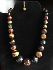 """Genuine Faceted Graduated Red, Blue & Brown Tiger's Eye Bead Silver Necklace 19"""""""