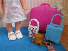 KELLY SHELLY Barbie GOING TO GRANDMA HOUSE LUGGAGE BAG AIRPLANE SUITCASE Set Lot