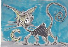 ACEO Art Original Drawing By Phil Born Halloween Black Cat marker ink sketch