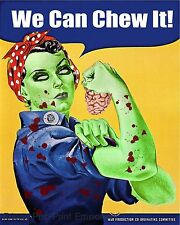 Rosie the Riveter Zombie Art Print 8 x 10 - We Can Chew It - Goth Horror Brains