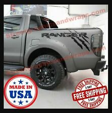 2X Ford Ranger bed side Vinyl Decals graphics rally stripe Color Matte Black