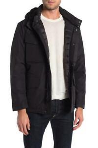 Michael Kors Mens L Black Baltimore Hooded Zip Utility Pocket Insulated Jacket