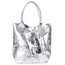 Metallic Quasten Kette Schulter Tasche Italy Leder Silber Shopper Borse in Pelle