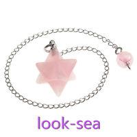 Chakra Gemstone Rose Quartz Bead Merkaba Pendulum Healing Point Pendant Necklace