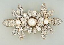3.16ct NATURAL ROUND DIAMOND PEARL GEMSTONE 14K SOLID WHITE GOLD BROOCH PIN