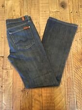 Sz 28 Seven 7 For All Mankind Jeans Long Bootcut Distressed Dark Blue Wash