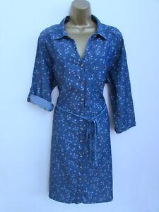 DEBENHAMS LADIES BLUE DENIM BIRD PRINT BELTED DRESS PLUS SIZE 20 3/4 SLEEVES