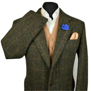 Harris Tweed Tailored Country Checked Blazer Jacket 42R #948 MID WEIGHT CLOTH