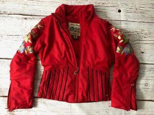Obermeyer Winter Elegance Red Ski Jacket, Floral Embroidered Size 6 Style #41136
