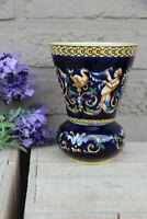 French GIEN marked porcelain mythological faun putti scene Vase
