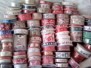 CHRISTMAS RIBBON *A LARGE SELECTION OF OVER 80 DESIGNS* RIBBON FOR EVERYONE 1mtr
