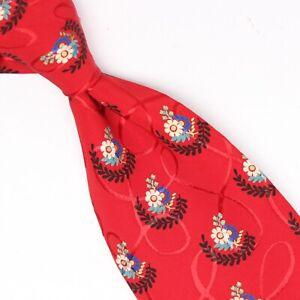 Brioni Mens Silk Necktie Red White Blue Green Black Floral Print Tie Italy Made