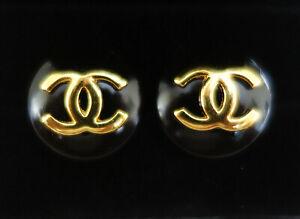 "Chanel Cufflinks 19mm 3/4"" Classy Black & Gold"