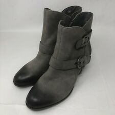 Earth Womens  Ankle Boots Gray Leather Side Zip Buckle Size 9 B