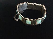 Navajo Sterling Silver Fire Opal Link Bracelet Signed Carl Quintana