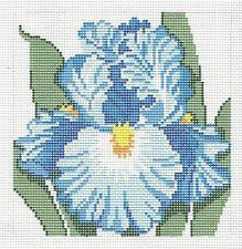 *New* LEE Blue Bearded Iris Flower Series handpainted Needlepoint 12 mesh Canvas