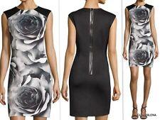 NWT TAHARI ASL Size 8 ROSE Print Faux Leather Back Zip scuba Sheath Dress