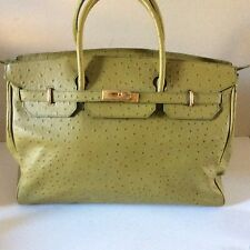 Pre-owned Via Borgospesso Large Leather Ostrich Embossed Handbag Made In Italy