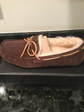 UGG OLSEN ESPRESSO, NEW W BOX SUEDE MOCCASIN STYLE MEN'S SLIPPERS SIZE 9 1003390