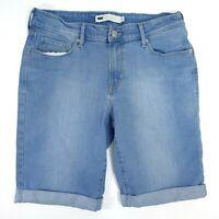 "New Levis Womens Mid-Length Bermuda Unbasic Stretch Blue Denim Shorts 8 / 29"""
