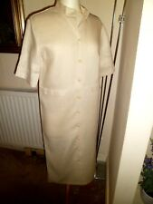JOYCE RIDINGS Cream/Yellow LINEN DRESS UK 14