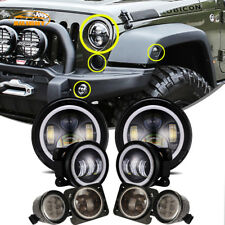 "7"" LED Headlight +4"" Fog Halo Light+Turn Signal+Fender Kit for Jeep Wrangler JK"