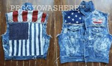 VTG CUT OFF ACID DENIM TRUCKER jacket VEST AMERICAN FLAG STUD SPIKE moto grunge