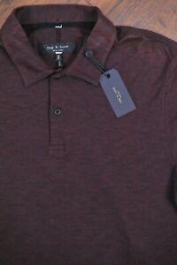 NWT rag & bone Owen Stripe Polo Shirt Burgundy Men's Medium M