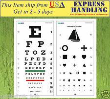 Snellen and Kindergarten Wall Eye Chart Size 22 x 11 Pack of 2 Chart Ship fr USA