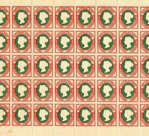 HELIGOLAND QV Stamps SG.10 1pf (II) p13½+14½ (1875) Mint Sheet c£1,000+* EP184