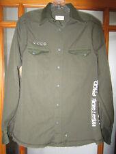 Jack & Jones Men's Small Shirt Long Sleeve Green Snap Up Harlem