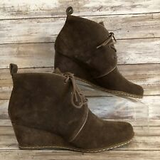 Franco Sarto 6M Annabelle Ankle Boots Shoes Brown Suede Lace Up Low Wedge Heel