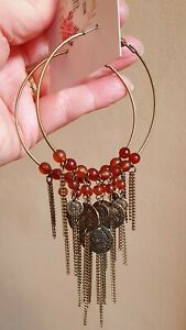 Extra Long Hooped And Beaded Earrings Boho Statement