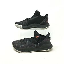 Under Armour Curry 5 GS Low Basketball Shoes Lace Up Black Multicolor Kids 5 Y