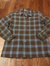 Vintage 60's Single Needle Plaid Loop Collar Shirt - Medium