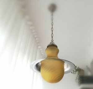 Large Space age UFO yellow glass chrome ceiling lamp pendant mid-century vintage