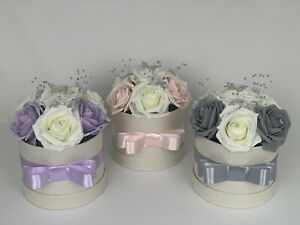 Artificial Flowers In A Hat Box - Artificial Foam Roses - Birthday flower box
