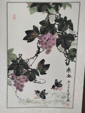 More details for vintage chinese ink watercolor on scroll chicks playing under grapes bunches