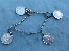 WWII US Army Coin Bracelet Trench Art Sterling British 3 Pence WW2