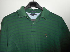 Tommy Hilfiger shirt polo rugby men green blue stripe short sleeve cotton sz 2X