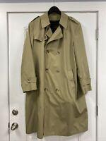 BOTANY 500 USA Long RAINCOAT Rain Trench Coat Mens Size L 44 Khaki w/ liner