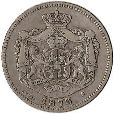 "1873 Romania 1 Leu Silver Coin Interrupted ""L"" KM#10"