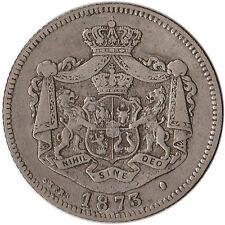 """1873 Romania 1 Leu Silver Coin Interrupted """"L"""" KM#10 Rare"""