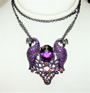 "Le Vian Ziba Silver Peacock 5.06CT Amethyst, Sapphire Necklace 19"" List-$1047"